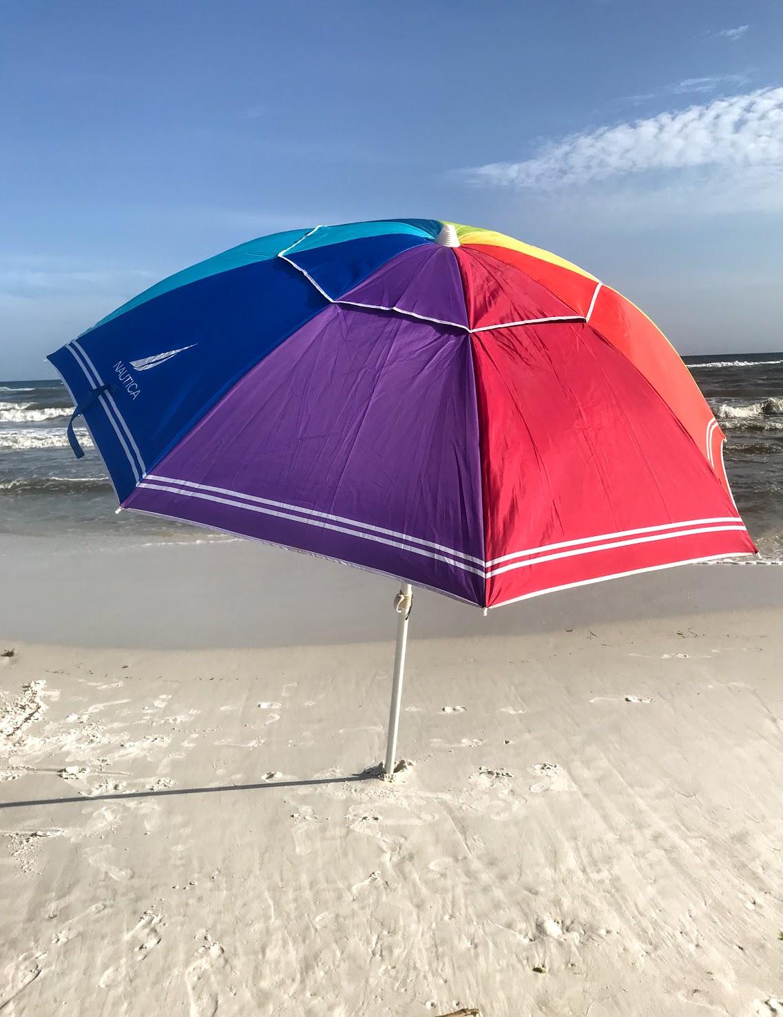 beach sun shade with a summer beach umbrella