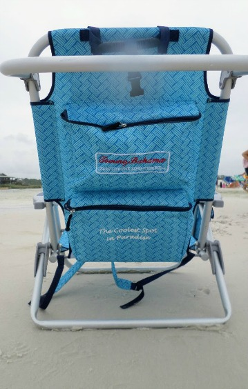 Tommy Bahama backpack beach chair with cooler, pouch and towel rack