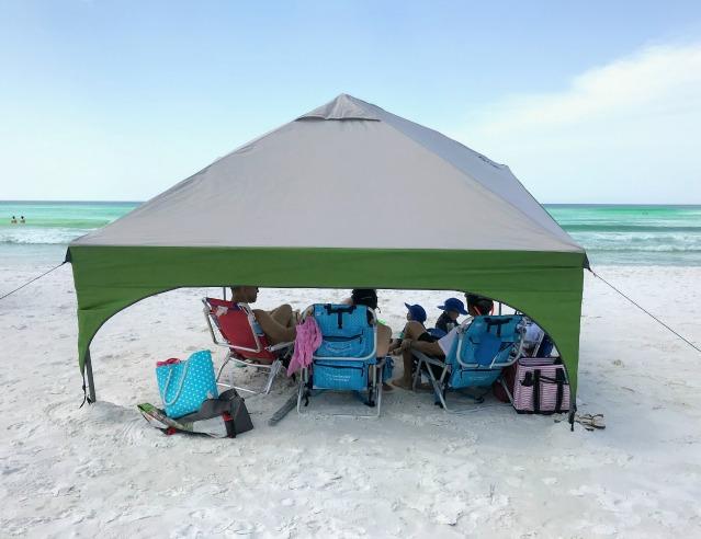 beach sun shade with a family beach tent