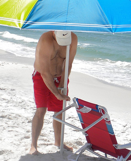 beach umbrella anchoring