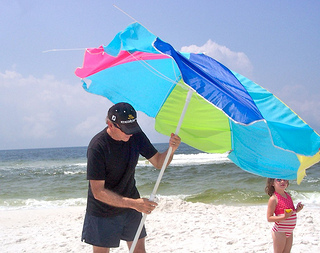 beach umbrella wind