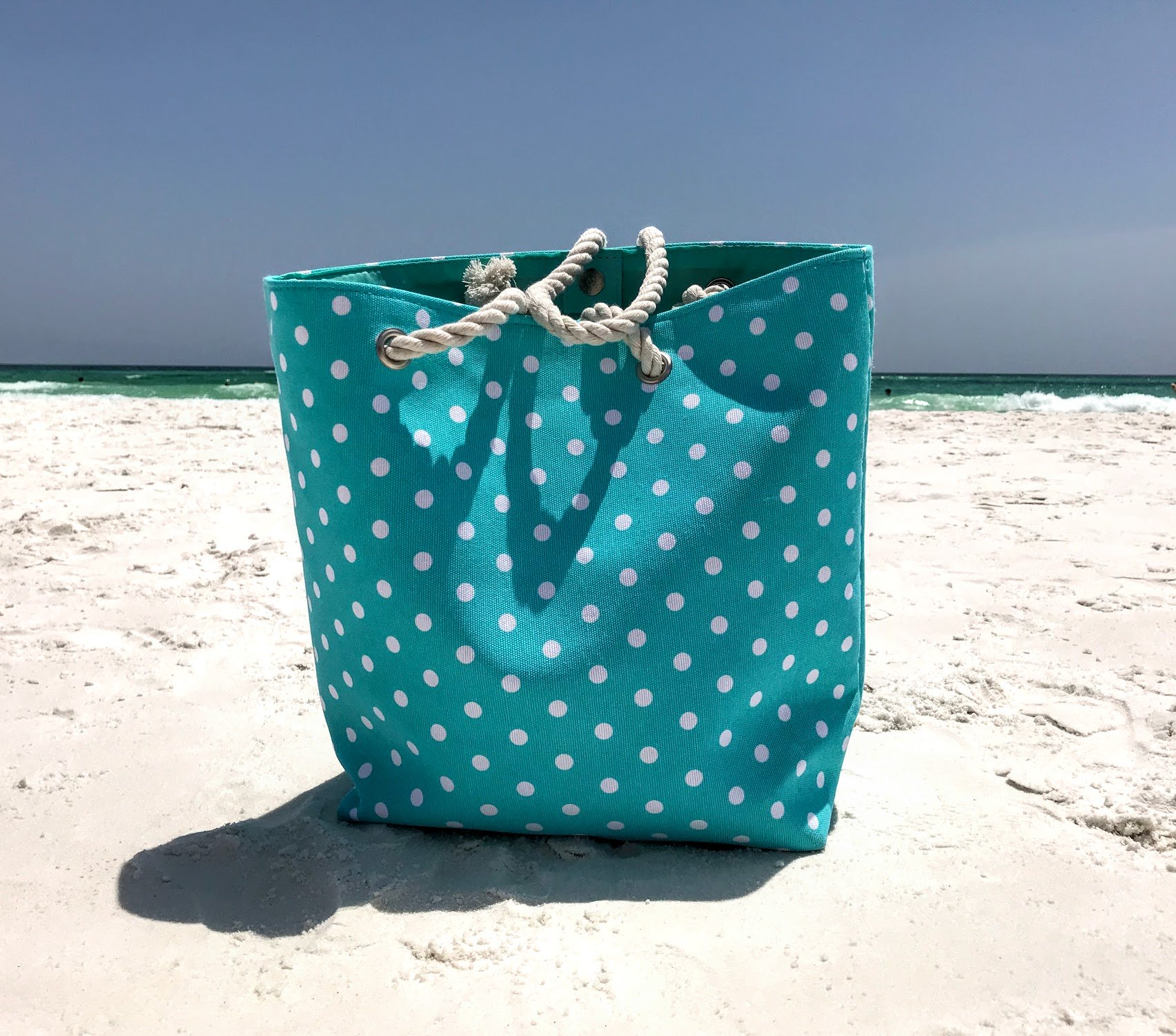 polka dot beach tote bag