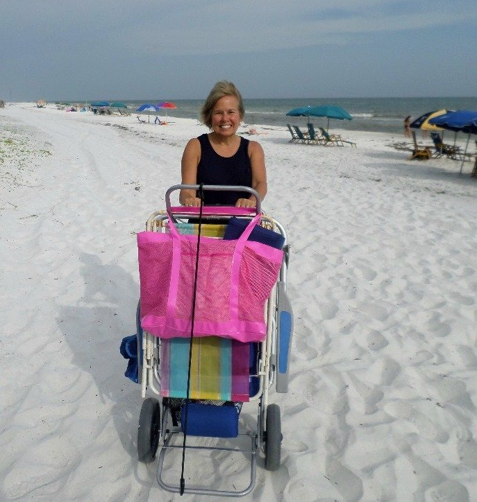 beach utility cart and table