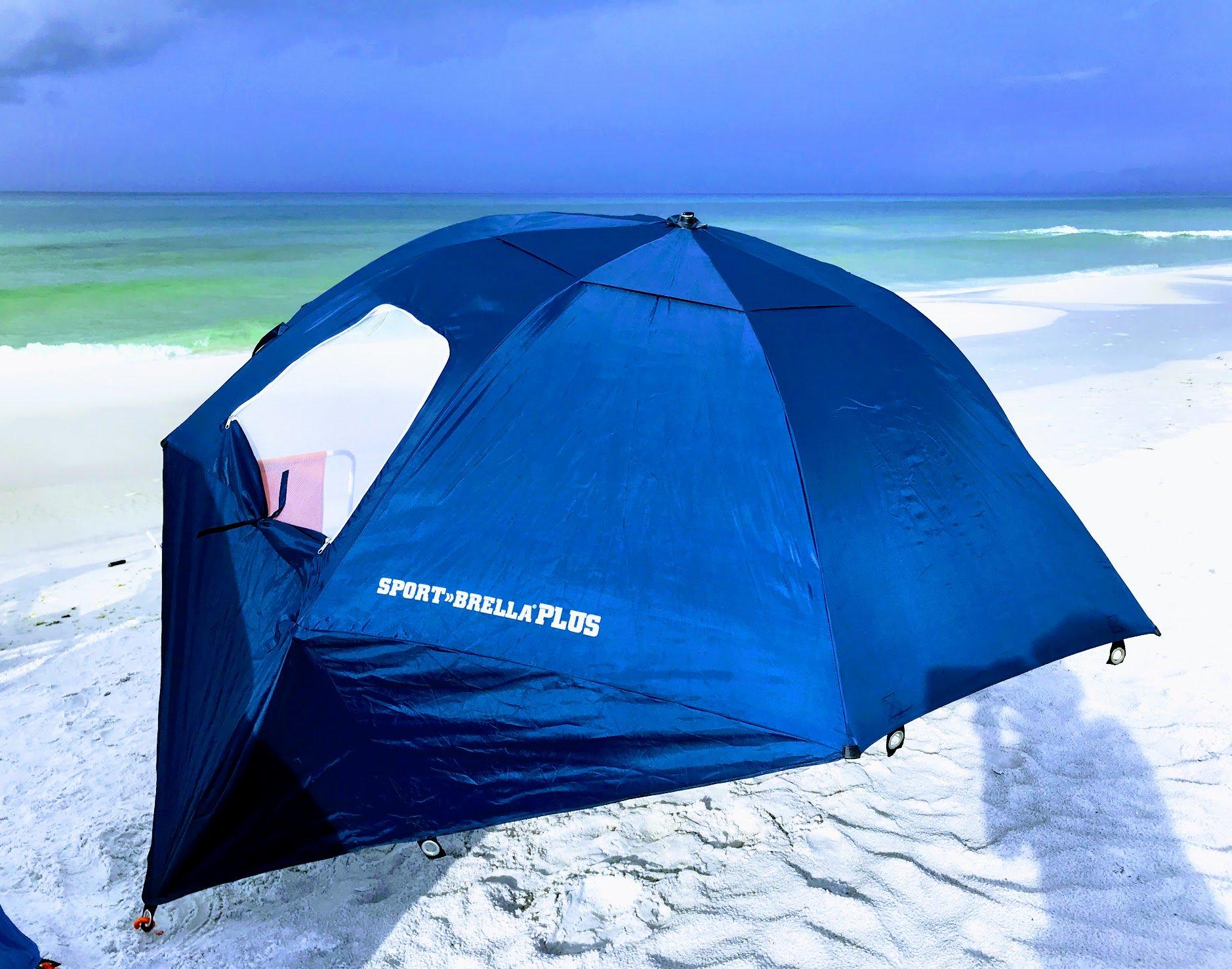 summer beach umbrella and tent