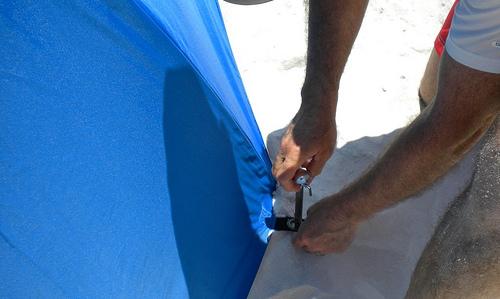 beach umbrella anchoring