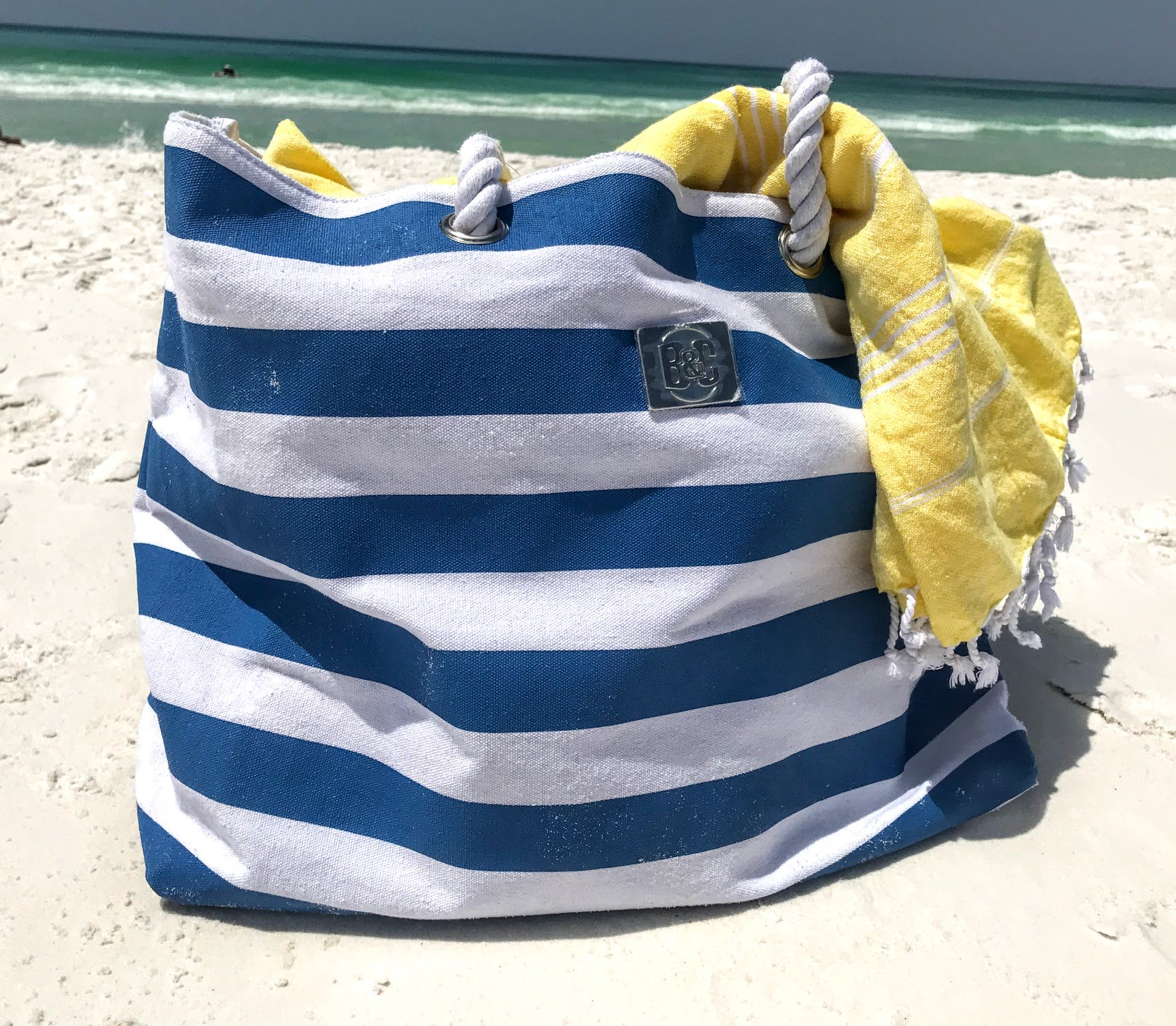 striped beach tote bag